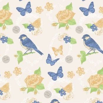 FF242-3 Birds & Butterflies Blue