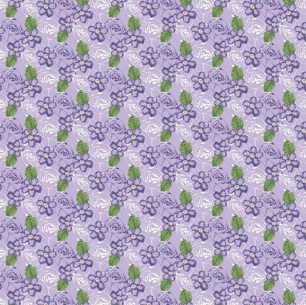FF243-2 Birds & Butterflies Floral Purple