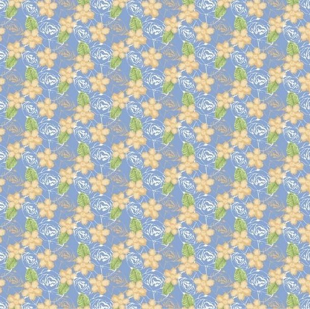 FF243-3 Birds & Butterflies Floral Yellow and Blue