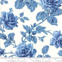 42301-17 Regency Blues English Rose Off White Blue