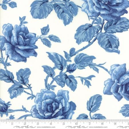 42301-17 Regency Blues English Rose Off White Blue