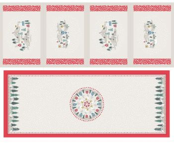 C40.1 - Snow day table centre & placemats cream panel