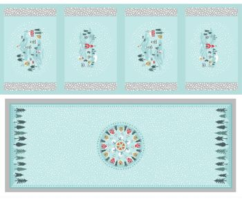 C40.2 - Snow day table centre & placemats icy blue