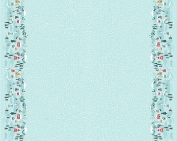 C41.3 - Snow day double border icy blue half metre