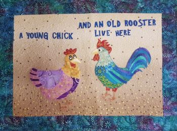 Young Chick & Rooster Applique Wall Hanging Pattern Only