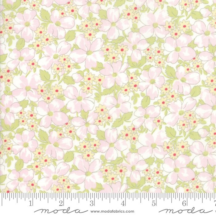 18673-11 Amberley Linen White Flowers and Leaves