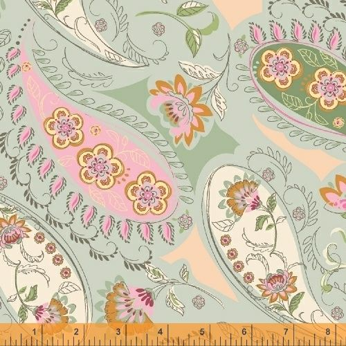 50931-2 Blythe Floral Greens, Pink and Natural