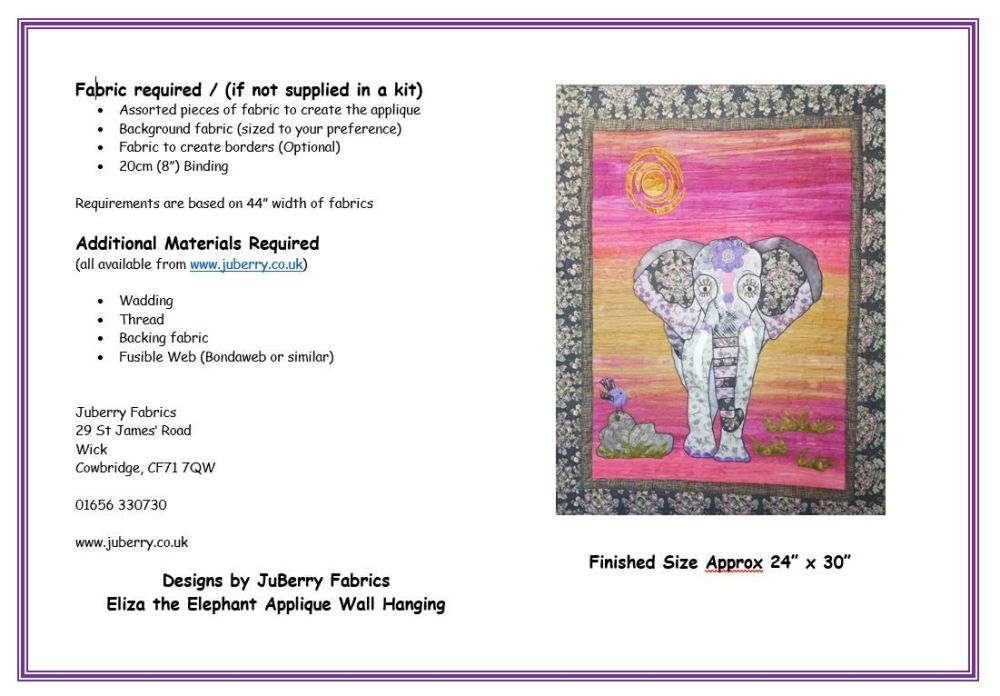 Eliza the Elephant Applique Wall Hanging Pattern