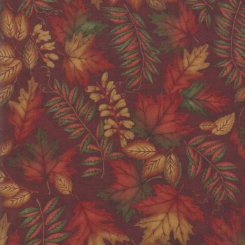 6791-16 Country Charm Leaves Rustic Red