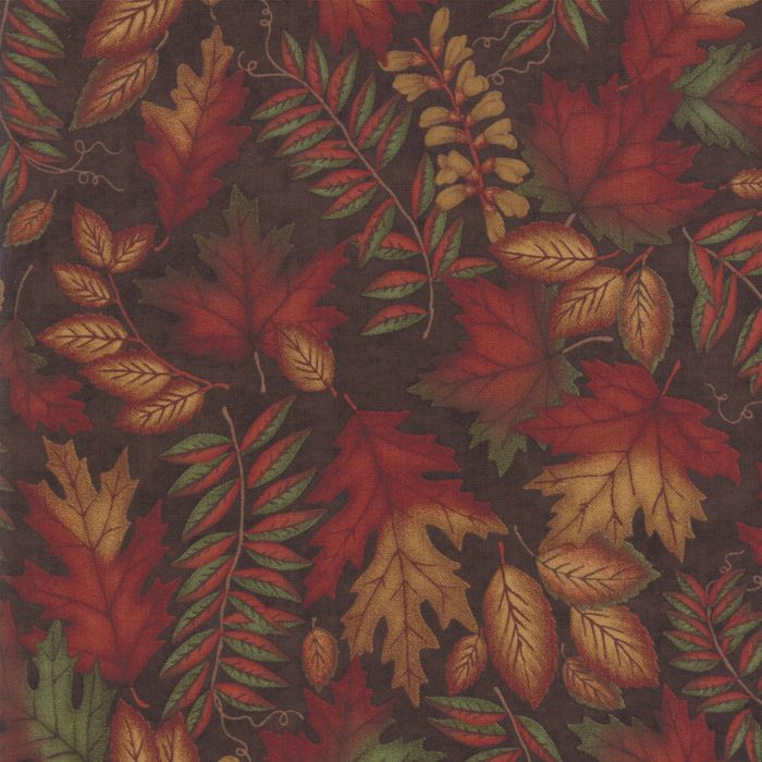6791-17 Country Autumn Leaves Brown