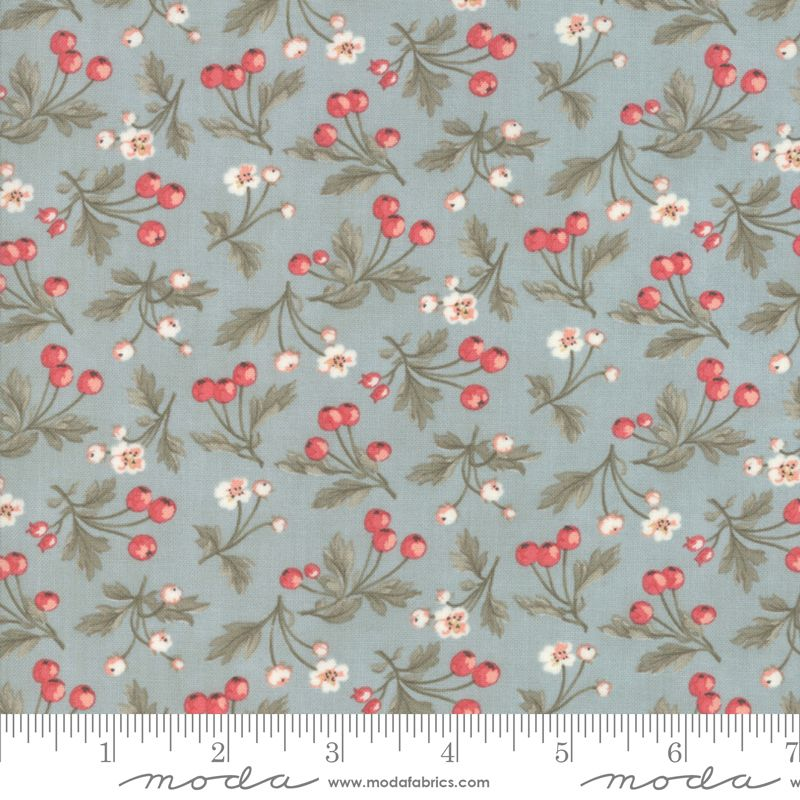 44244 15 Daybreak Dewdrop Rose Hips and Flowers on Blue