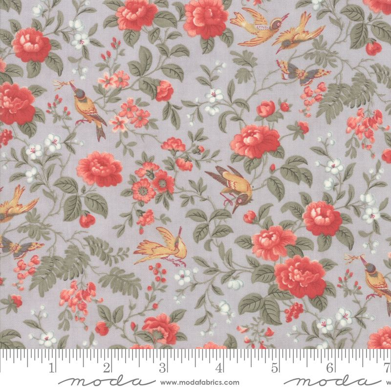 44241 14 Daybreak Silver Birds and Roses Grey
