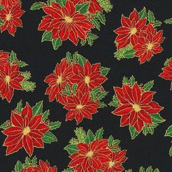 SRKM-19926-2 Red Flowers Black