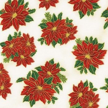 SRKM-19926-223 Red Flowers Ivory