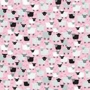 1333 Grey and White Sheep on Pink