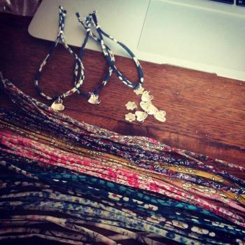Liberty Ribbon Bracelets with Sterling Silver Charm