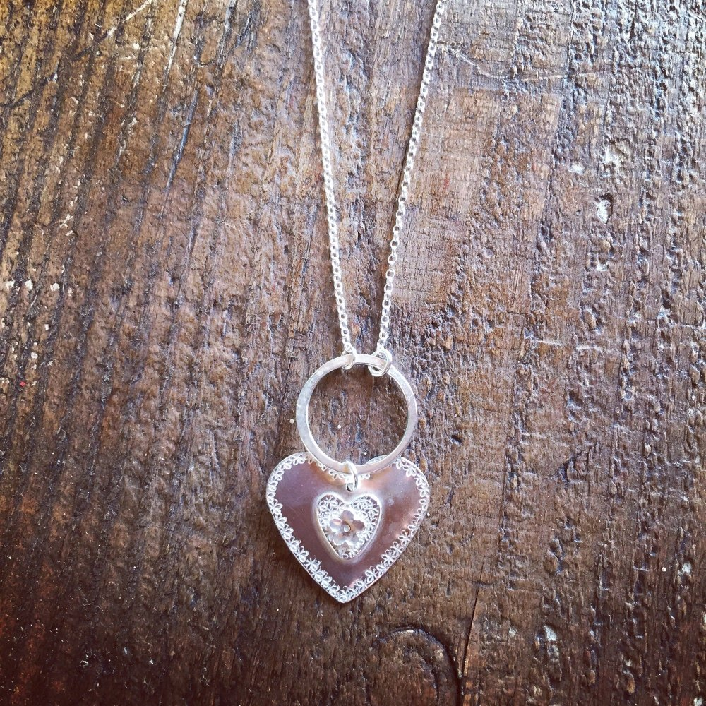 Stunning long necklaces with hoop and large floral heart