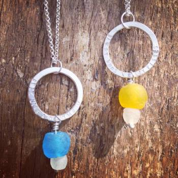 Recycled Glass Hoop Necklace