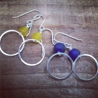 Tiny Hoops with Recycled Glass Beads
