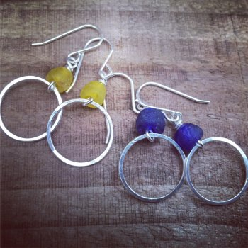 Mini Hoops with recycled beads