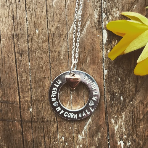 'Cornwall My Home' Copper Heart Necklace