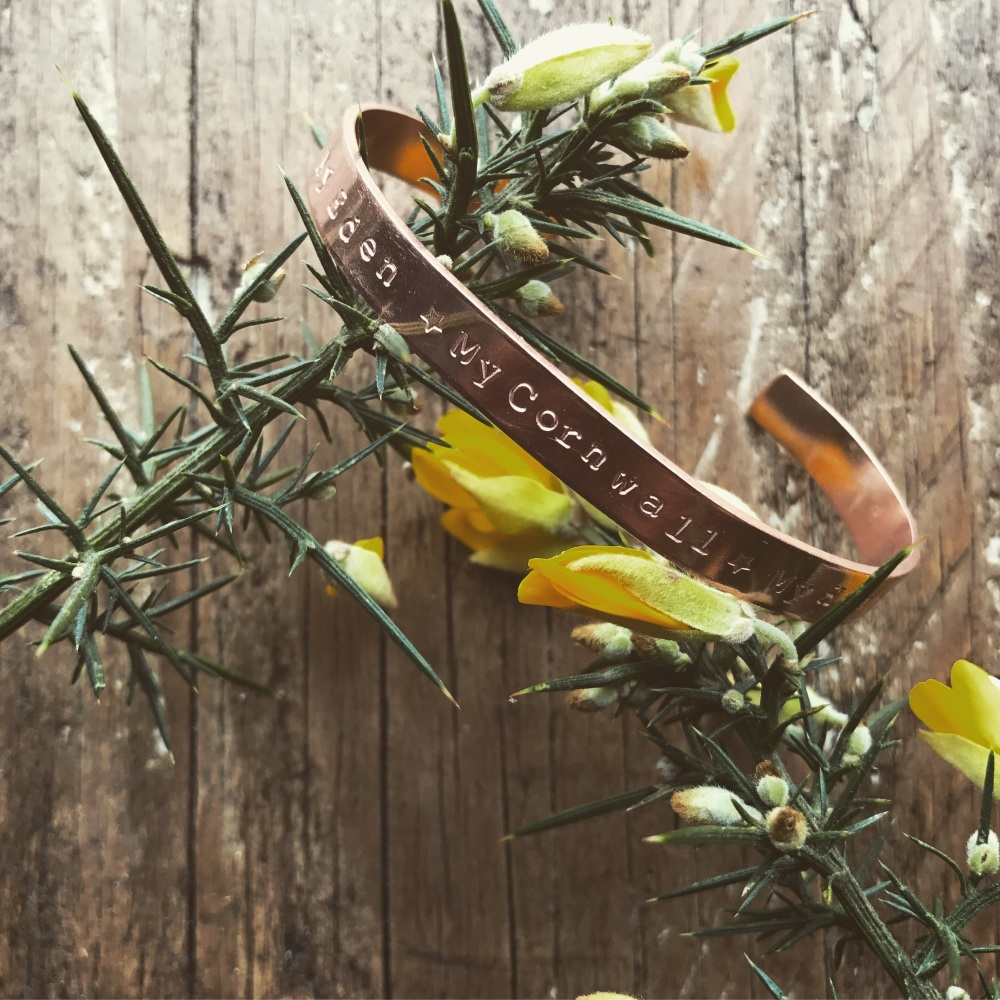 'Cornwall My Home' Copper cuff