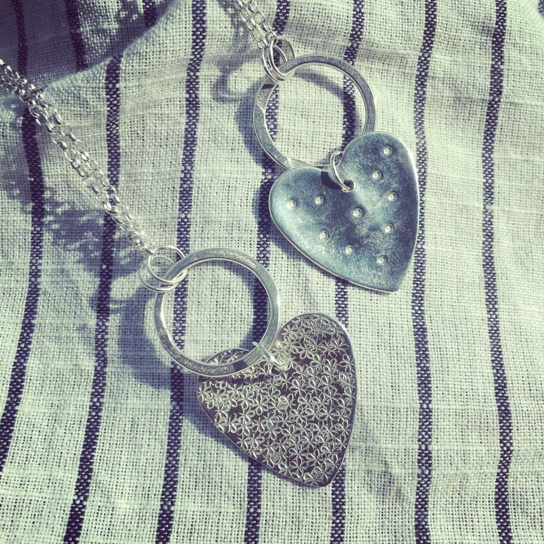 Stunning long necklaces with hoop and heart