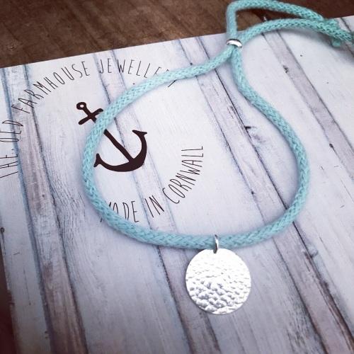 Hammered Disc - Cotton Bracelet