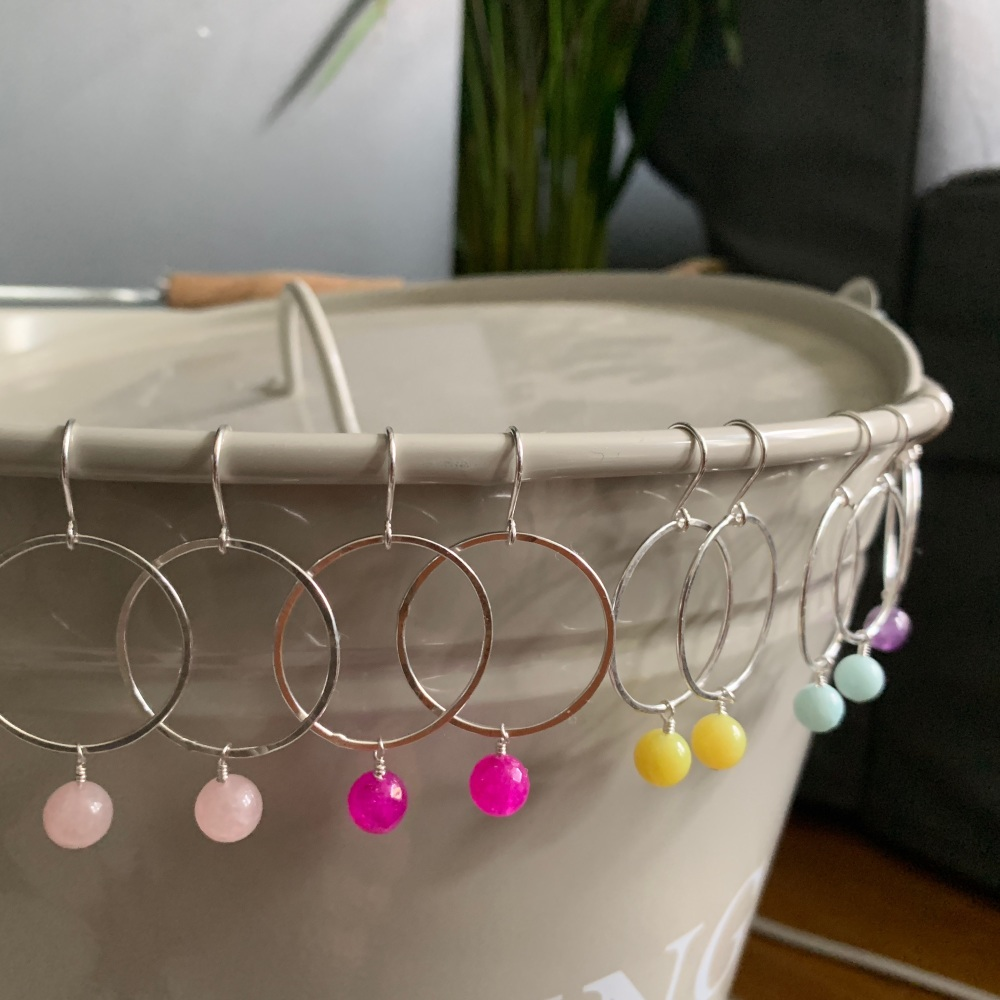 Semi-Precious Hoop Earrings