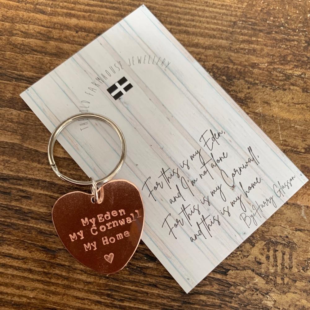'Cornwall My Home' Keyring Heart