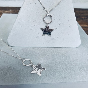 Stunning long necklaces with hoop and hammered star
