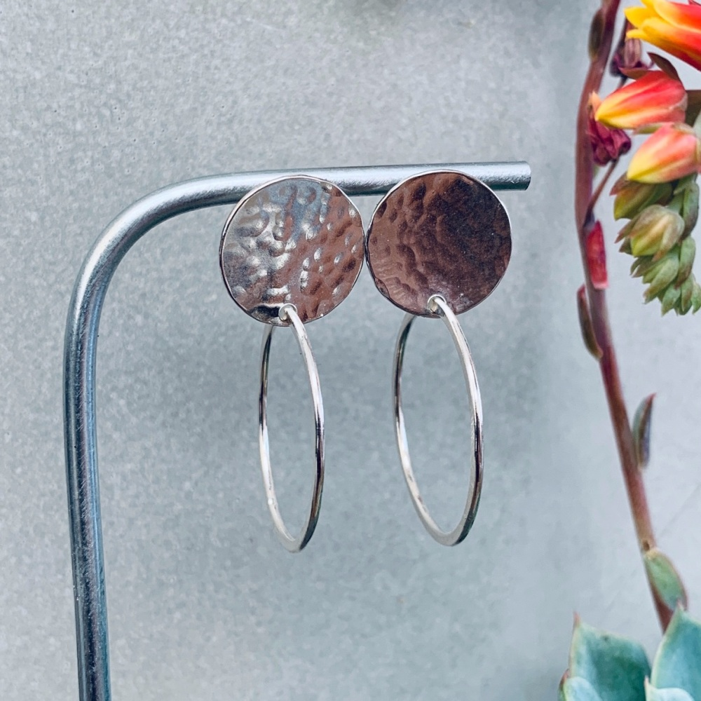 Hammered Disc Hoop Earrings
