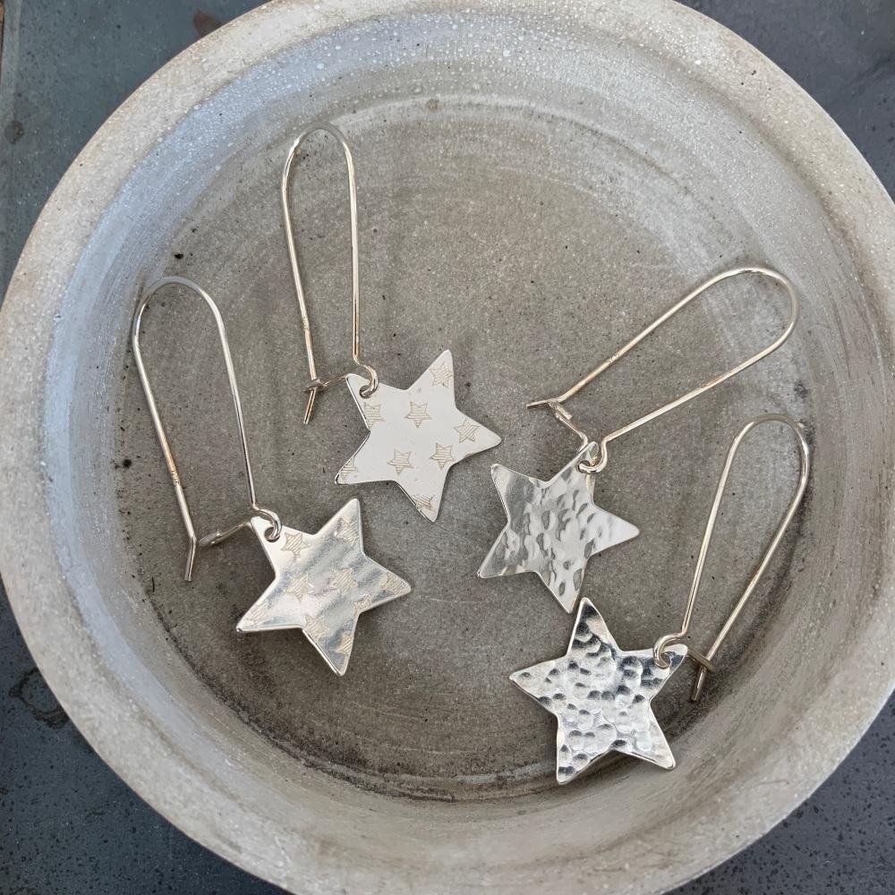 Dangly Star Earrings on a Kidney earring hook
