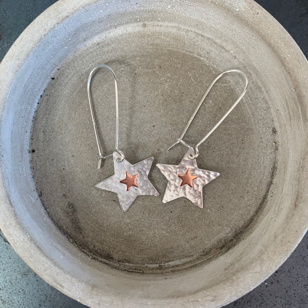 Copper Star Earrings on a Kidney earring hook