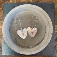 Large Heart Flower Earrings with a Copper Heart