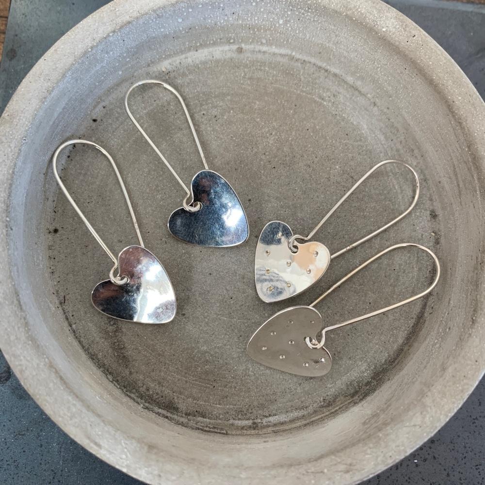 Dangly Heart Earrings on a Kidney Hooks