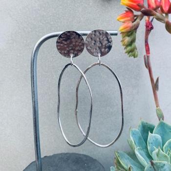 Hammered Disc Irregular Hoop Earrings