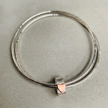 Double Bangle with Heart Bead