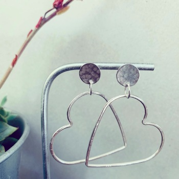 Small Hammered Disc with Large Heart Hoop Earring