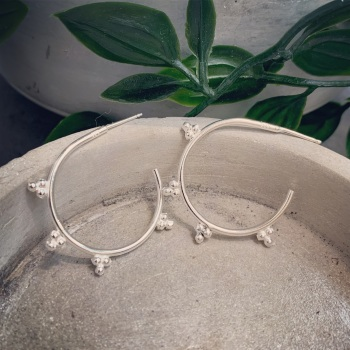 Boho Open Hoops with Tiny Silver Dots