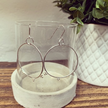 Boho Dangly Hoops with Tiny Silver Dots