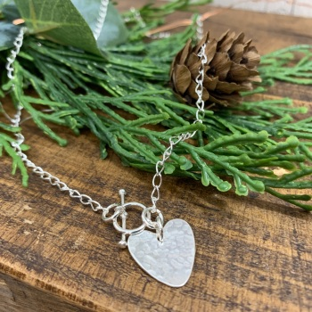 Hammered Heart Charm T-Bar Necklace