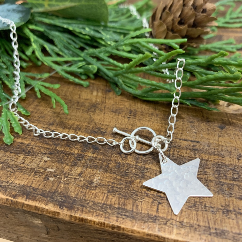 T-Bar Hammered Star Charm Necklace