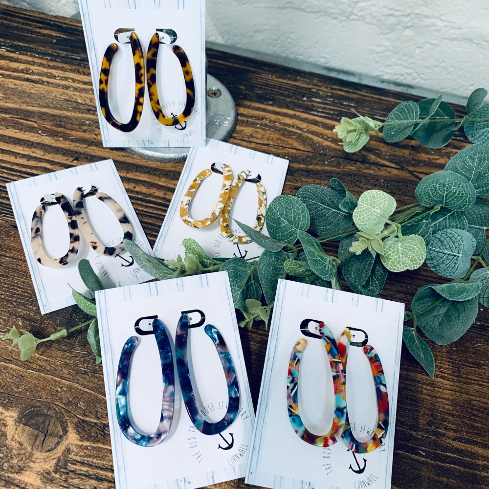 Oval Open Patterned Hoops