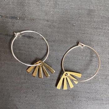 Sunburst Brass Hoops