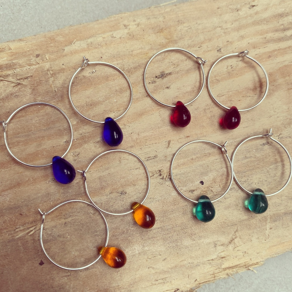 Teardrop Hoops - Bright coloured
