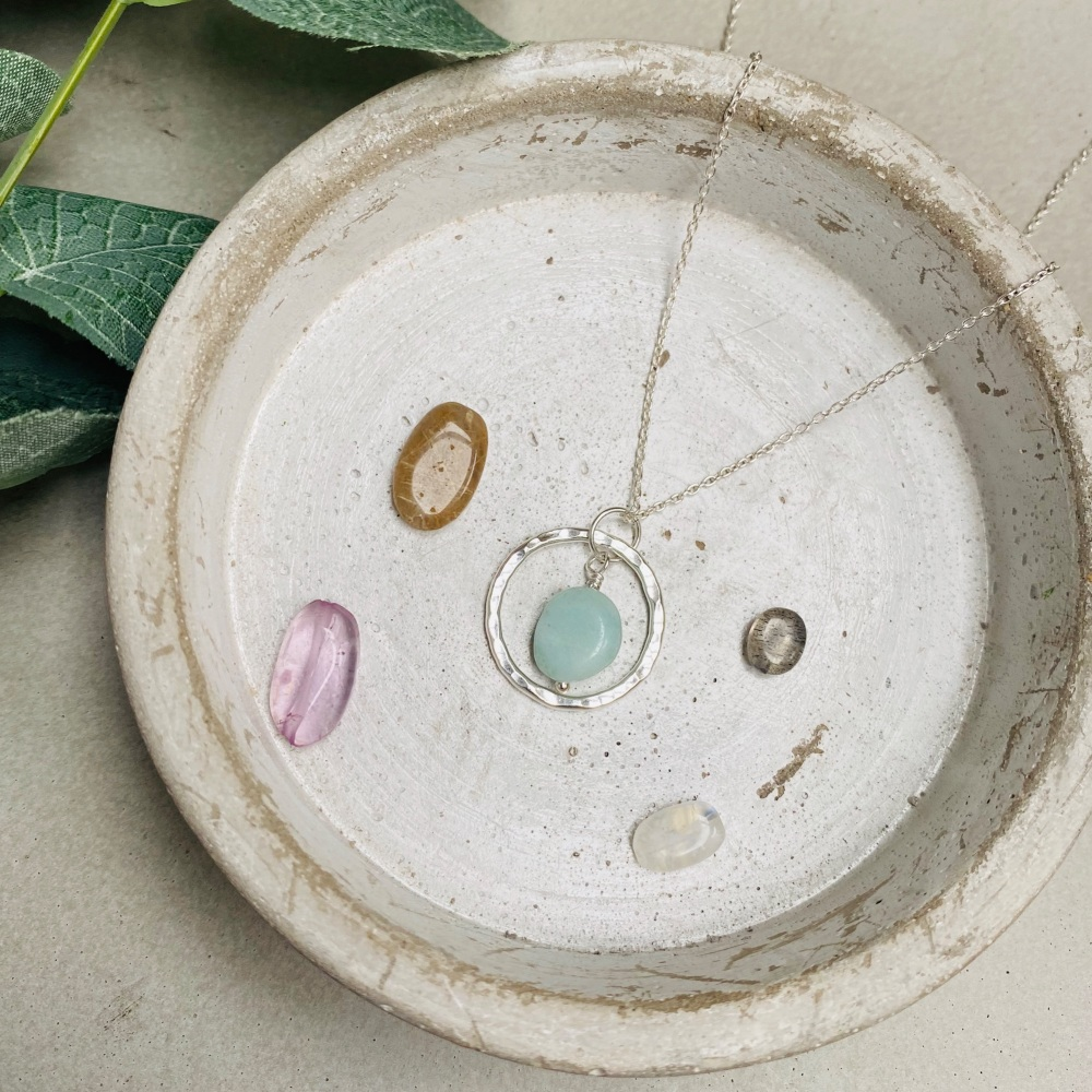 Semi-Precious Nugget Hoop Necklace