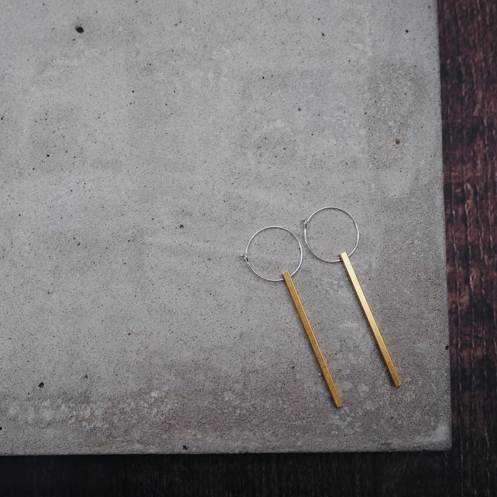 Slim Bar Brass Hoops