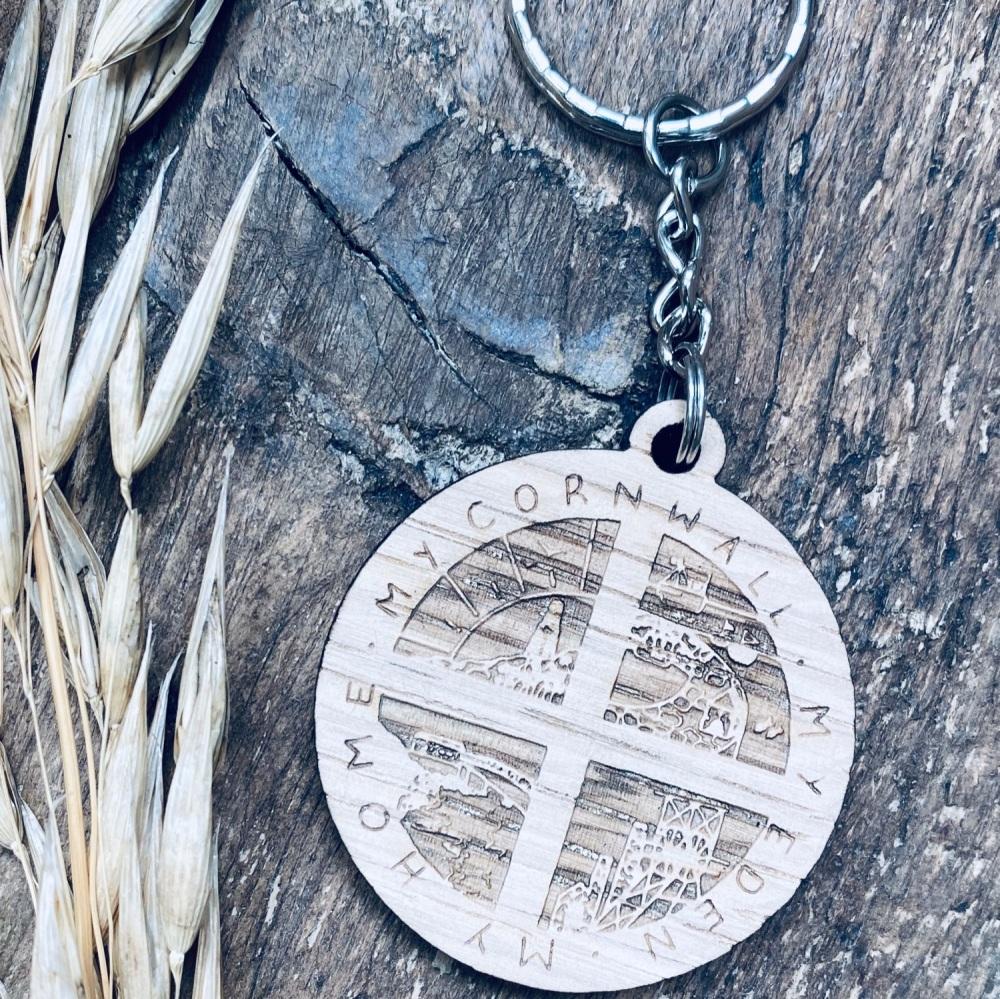 'Cornwall My Home' Wooden Keyring