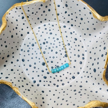 Turquoise Bead Necklace in Gold